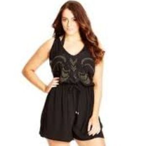 City Chic Black Embroidered Playsuit Romper XXL